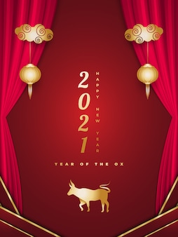 Chinese greeting decorated with golden ox lanterns and red curtains on red background