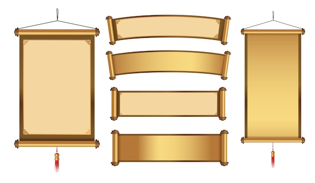 Chinese hanging banner collection for graphic element in gold theme