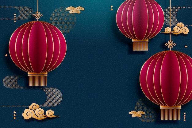 中国紙アートスタイルで赤い提灯青い背景をぶら下げ