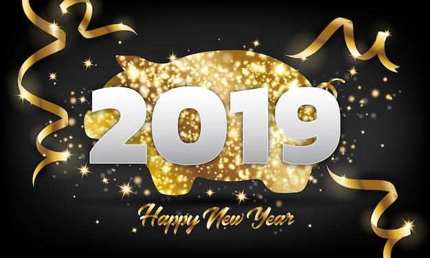 Chinese happy new year 2019 golden pig greeting card background.