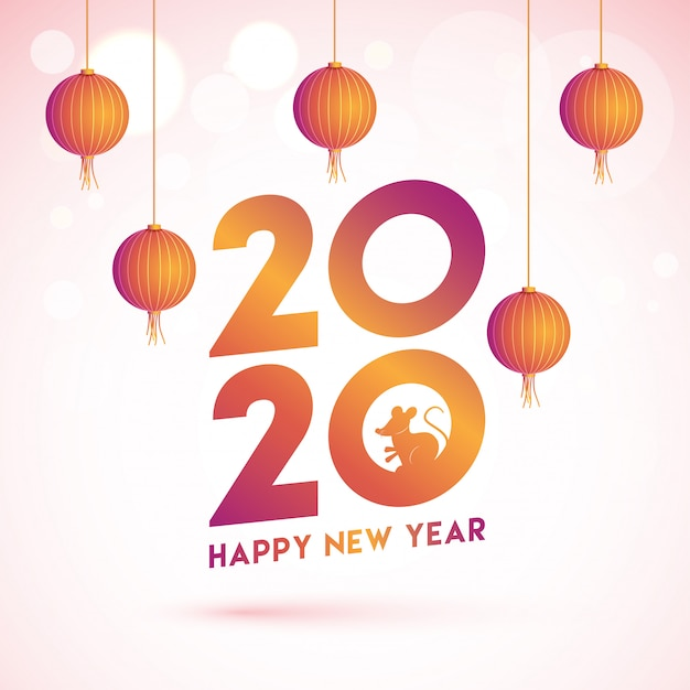 Chinese happy new year greeting card  with 2020 text with rat zodiac sign and hanging lanterns decorated on pink bokeh .