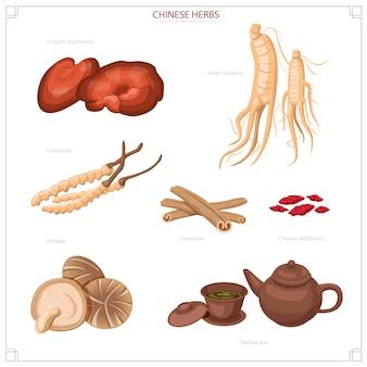Chinese herbs, ginseng, reishi, cordyceps, shitake mushrooms and tea.