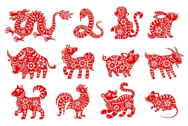 Chinese horoscope animal isolated icons with red paper cut zodiac symbols of lunar new year