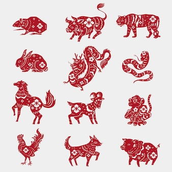 Chinese horoscope animals  red new year stickers set