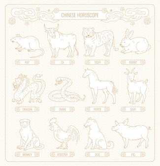 12匹の動物の線画の中国の星占い。白地に東部占星術カレンダーアジアパターンゴールドアウトラインを設定します。