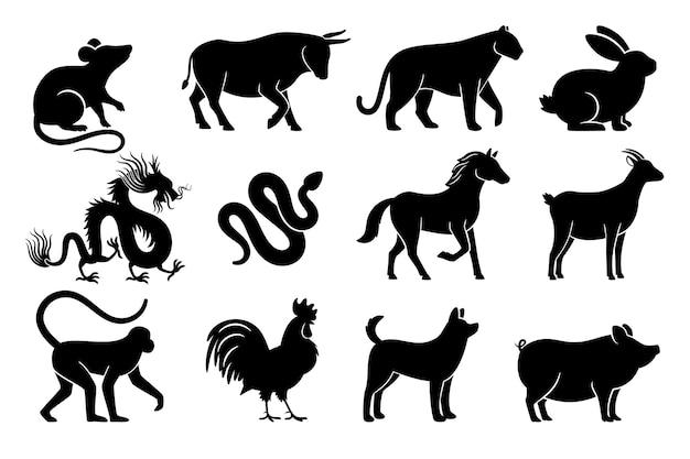 中国の星占いのシルエット。年の中国の干支の動物のシンボル、黒い看板
