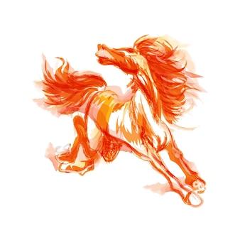 中国の馬の書道水墨画スタイル