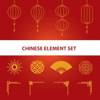 Китайская иллюстрация с элементами дизайна