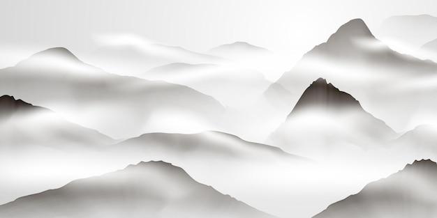 중국어 잉크와 물 풍경화 해피 중국 설날 배너 카드