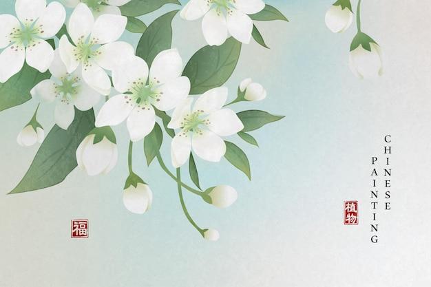 중국어 잉크 그림 예술 배경 식물 우아한 꽃 배 꽃