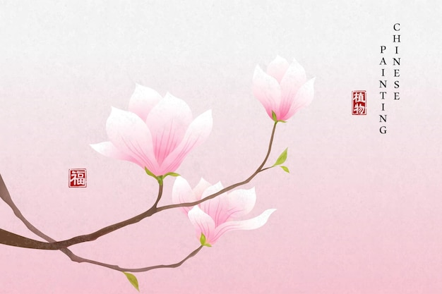 Chinese ink painting art background plant elegant flower pink magnolia