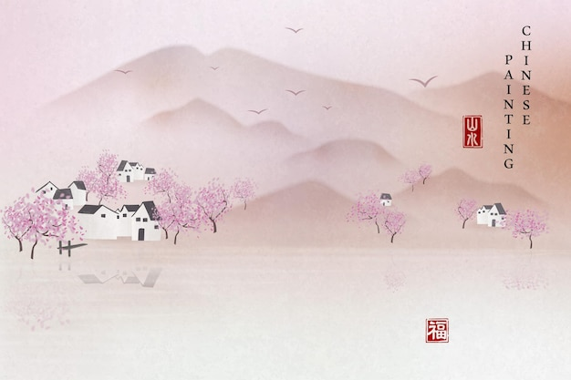 Chinese ink painting art background