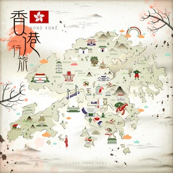 フラットなデザインのアトラクションアイコンと中国インクスタイル香港旅行地図