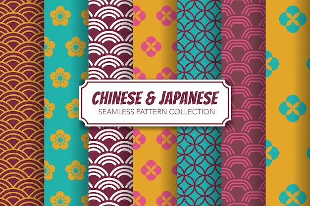 Chinese and japanese seamless pattern set.