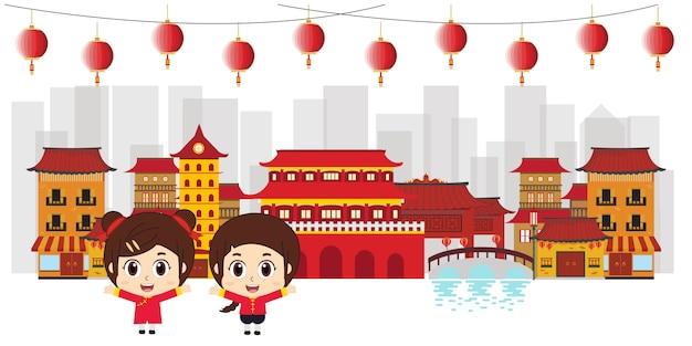 中国の子供たちが中華街に旅行