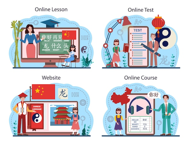 Chinese language learning online service or platform set. language school chinese course. study foreign languages with native speaker. online lesson, test, course, website. flat vector illustration