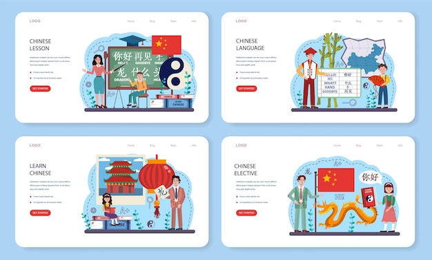 Chinese language learning web banner or landing page set. language school chinese course. study foreign languages with native speaker. idea of global communication. vector flat illustration