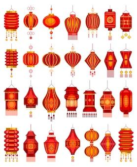 Мультфильм китайских фонариков установить значок. иллюстрация азиатская лампа на белом фоне. мультфильм установить значок китайский фонарь.