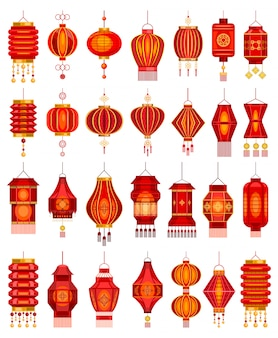 Chinese lantern  cartoon set icon.  illustration asian lamp on white background.  cartoon set icon chinese lantern.