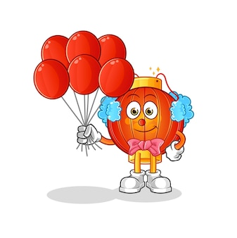 The chinese lantern clown with balloons character mascot