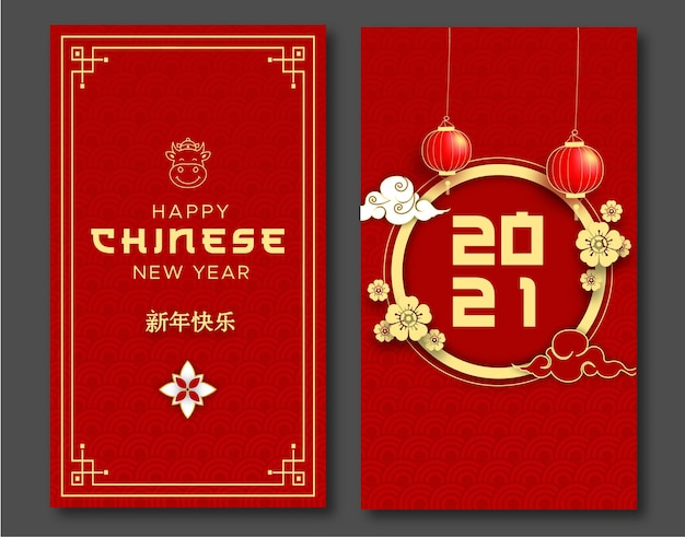Chinese lantern flower and cloud with message language happy chinese new year  greeting card.
