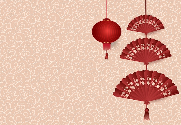 Chinese lantern folding fan hanging on pattern