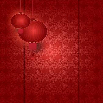 Chinese lantern hanging on pattern red background