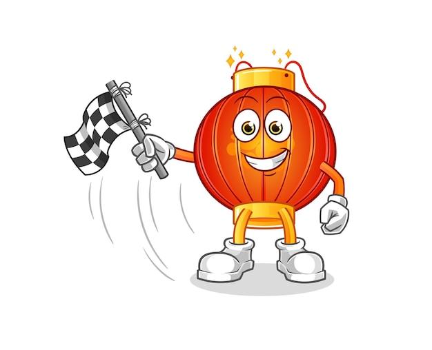The chinese lantern hold finish flag. cartoon mascot mascot
