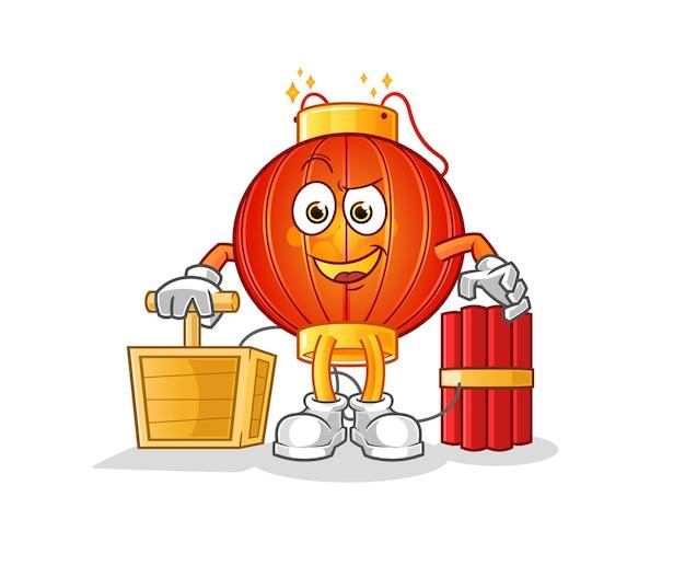 The chinese lantern holding dynamite detonatorcharacter mascot