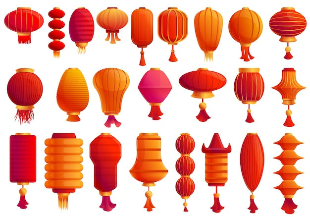 Chinese lantern icons set, cartoon style