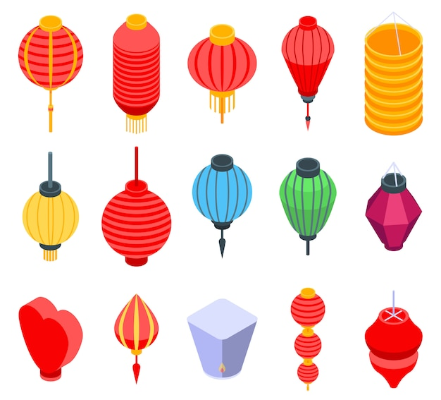 Chinese lantern icons set, isometric style
