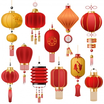 Chinese lantern vector traditional red lantern-light and oriental decoration of china culture