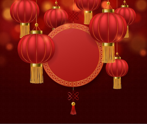 Chinese lanterns. japanese asian rat new year red lamps festival chinatown traditional realistic festive  asia symbol decorative paper background