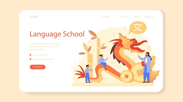 Chinese learning web template or landing page. language school chinese course. study foreign languages with native speaker. idea of global communication.