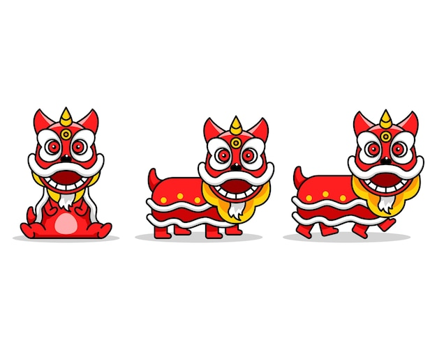 Chinese lion dance cute cartoon character
