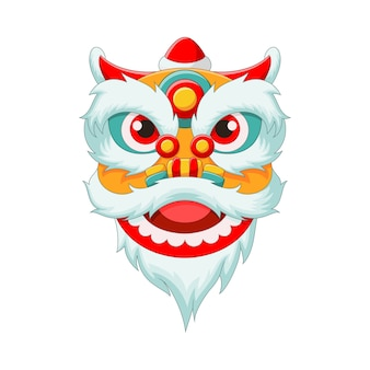 Chinese lion head dance isolated on white