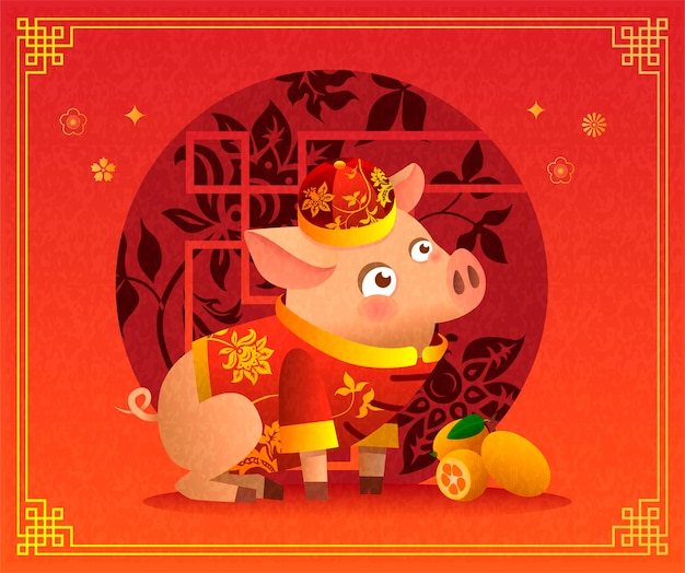 Chinese little pig cartoon character in traditional chinese red costume and red hat. ripe orange tangerines. vector illustration. chinese background with traditional decorations. zodiac of the pig.