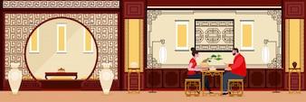Китайский дизайн интерьера гостиной