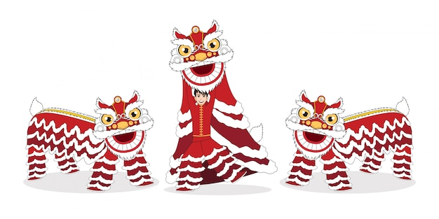 Chinese lunar new year lion dance fight isolated with cartoon character design on white background