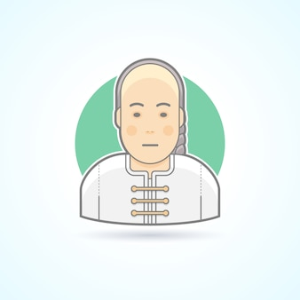 Chinese man in traditional close icon. avatar and person illustration.  colored outlined style.