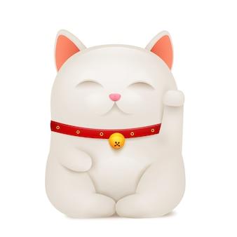 Chinese maneki neko lucky cat cartoon character.