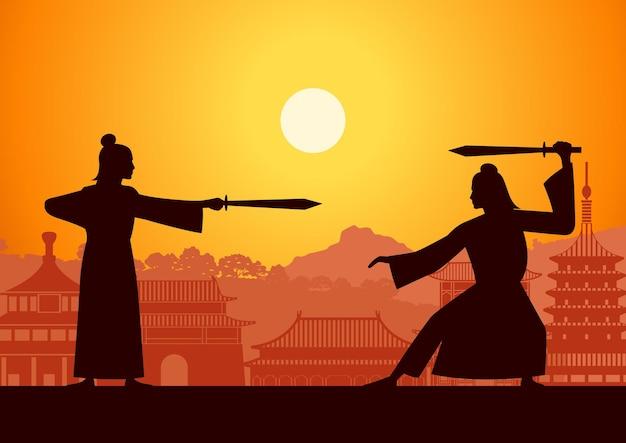 中国武術の英雄列車は互いに戦う