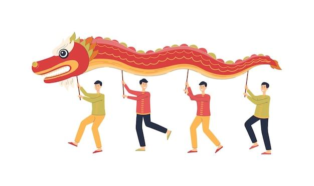 그들의 머리 위에 붉은 용 마스코트를 들고 춤을 추는 중국 남자들-국가 중국 휴일 축제 전통. 새해를 축하하는 만화 사람들-