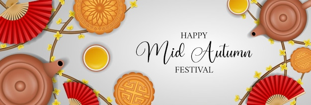 Баннер китайского фестиваля середины осени с чайниками и лунными пирожными