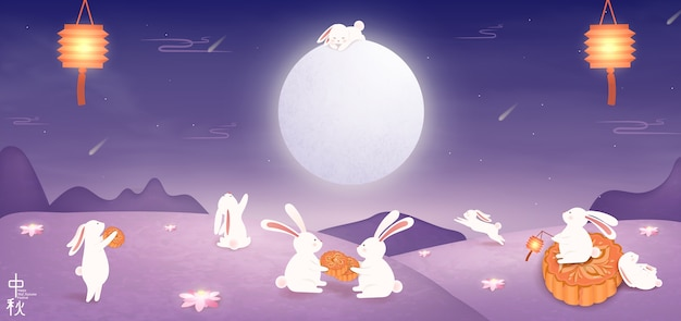 Chinese mid autumn festival design for banner.