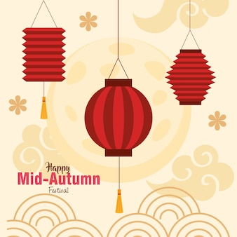 Chinese mid autumn festival with lanterns and flowers decoration