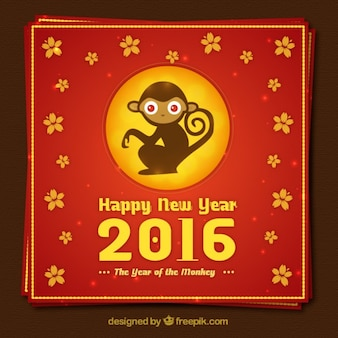 Chinese monkey year card in red and golden tones