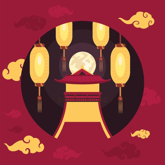 Chinese moon circular frame decoration
