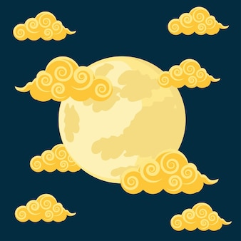 Chinese moon and clouds