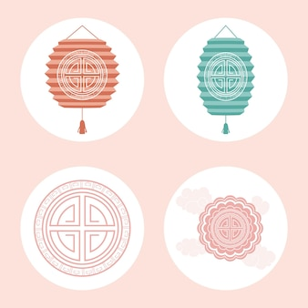 Chinese moon festival set four icons